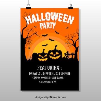 Affiche de Halloween avec des citrouilles