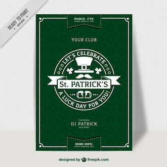Affiche de la fête de la Saint Patrick vert dans la conception plat