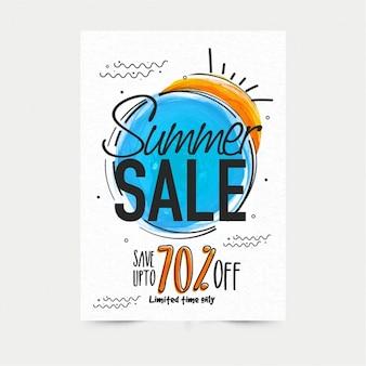 Affiche de la vente d'été avec des détails de couleur