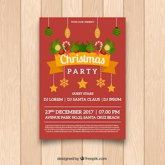 Affiche de Noël amusant avec un design plat