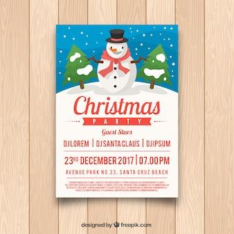 Affiche de Noël avec bonhomme de neige