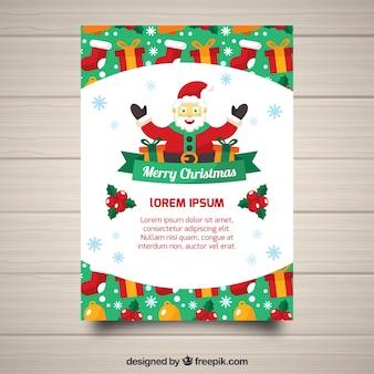 Affiche de Noël avec le père Noël souriant