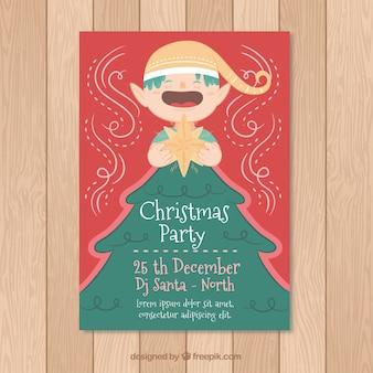 Affiche de Noël avec un elfe amusant