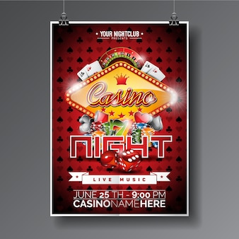 Affiche de nuit de casino