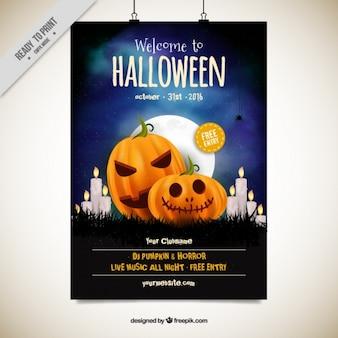 Affiche de partie de Halloween avec des citrouilles et des bougies