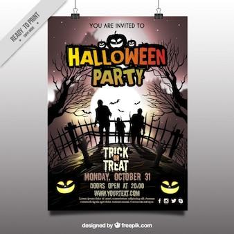 Affiche de partie de Halloween avec des zombies dans le cimetière