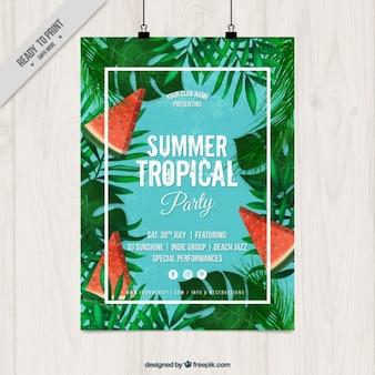 Affiche de partie tropicale d'été