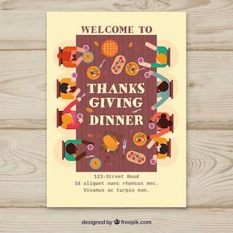 Affiche de Thanksgiving avec des personnes à table