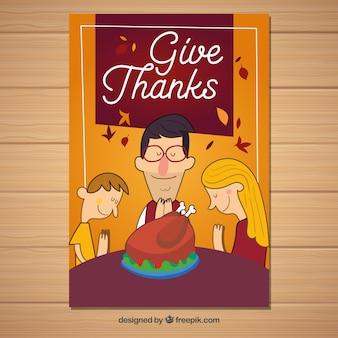 Affiche de Thanksgiving avec la famille