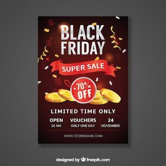 Affiche de vendredi noir avec des pièces