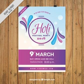 Affiche du festival de Holi pourpre Asbtract