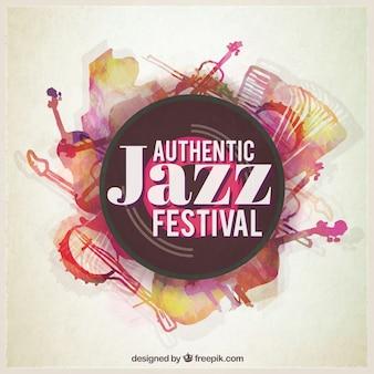 Affiche du festival de jazz peinte à la main