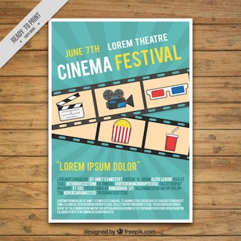 Affiche du festival du film avec le cadre et les éléments