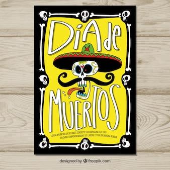 Affiche du jour des morts avec mariachi