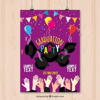 Affiche du parti diplômé avec birrétas
