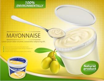 Affiche vectorielle réaliste avec un seau en plastique rempli de mayonnaise aux olives et une brindille à l'ail avec des olives