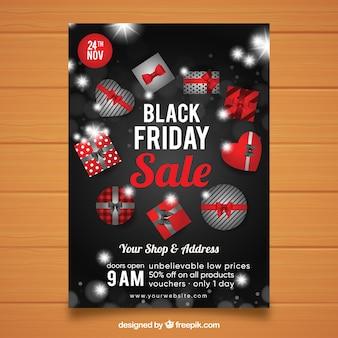 Affiche vendredi noir avec coffrets cadeaux