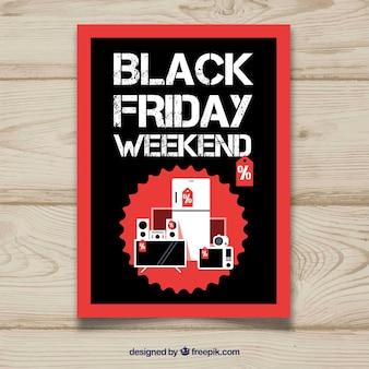 Affiche vendredi noir avec des produits plats