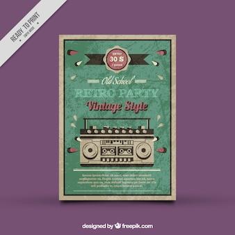Affiche vintage de fête avec la radio décorative