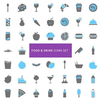 Aliments et boissons, icône, ensemble