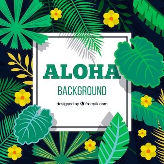 Aloha background avec des fleurs et des feuilles jaunes