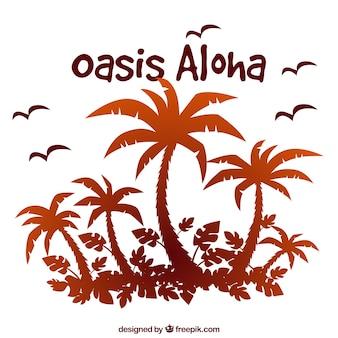Aloha background avec des silhouettes de palmiers