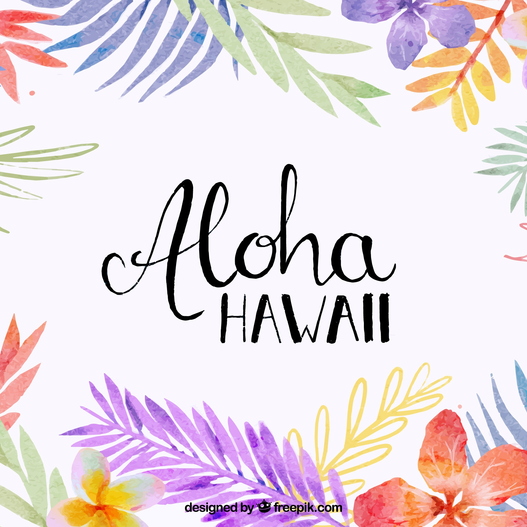 Aloha background avec feuilles d'aquarelle