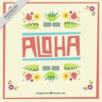 Aloha fond avec des fleurs plates
