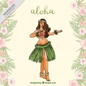 Aloha fond avec une femme qui danse