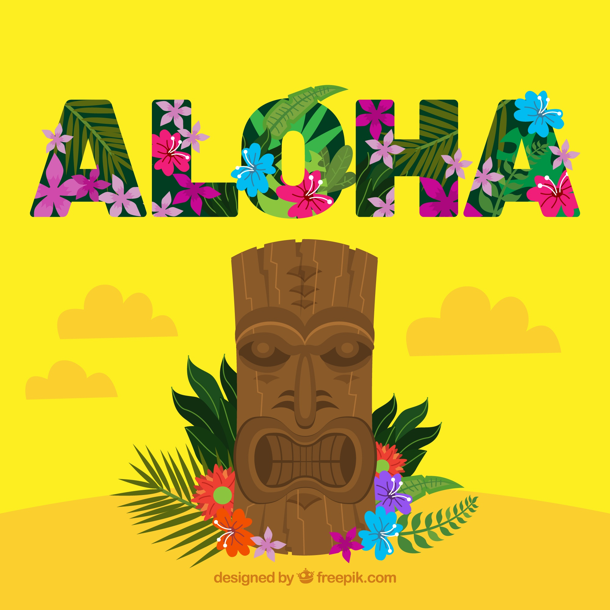 Aloha totem pole background