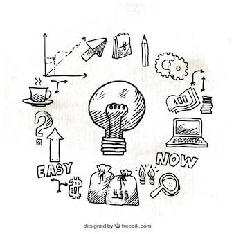 Ampoule infographique avec des icônes dessinées à la main