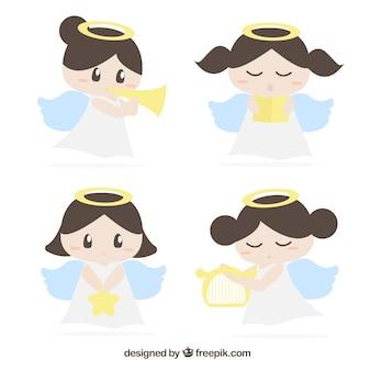 Anges charmants personnages avec accessoires