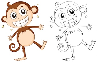 Animal outline for cute monkey