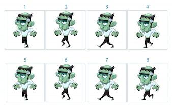 Animation d'un caractère drôle de monstre de bande dessinée en 8 images en boucle Isolé éléments vectoriels