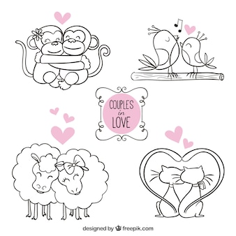Animaux couples amoureux