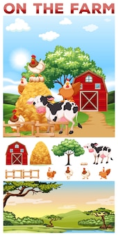 Animaux de ferme vivant dans l'illustration de la ferme