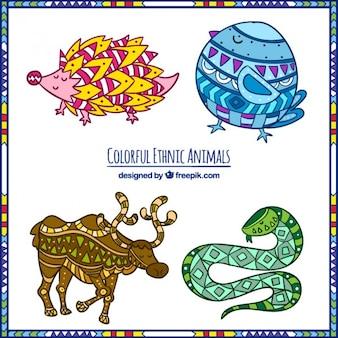 animaux ethniques colorées