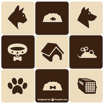 Animaux icônes de style rétro fixés