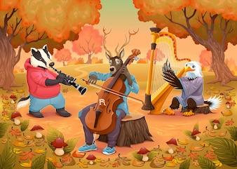 Animaux musiciens dans le bois de bande dessinée et illustration vectorielle