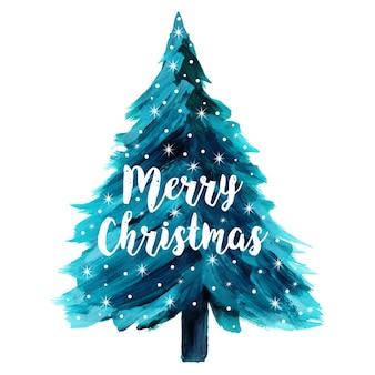 Aquarelle abstraite arbre de Noël