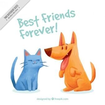 Aquarelle animaux amitié fond