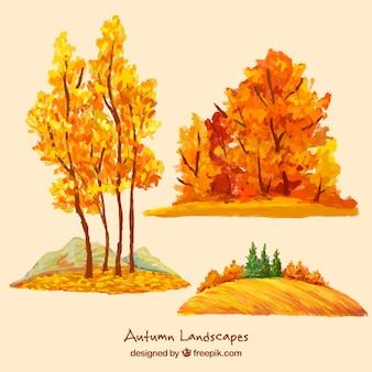 Aquarelle arbres d'automne