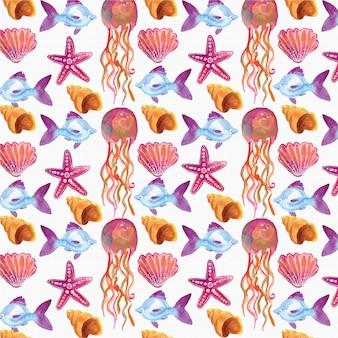 Aquarelle arrière-plan nautique