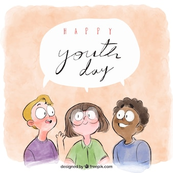 Aquarelle avec des amis célébrant le jour de la jeunesse