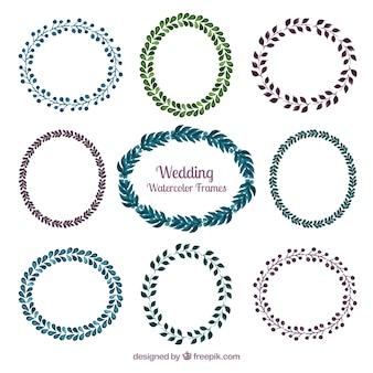 Aquarelle cadres de mariage de couronne de fleurs