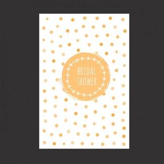 Aquarelle carte nuptiale de douche avec des points