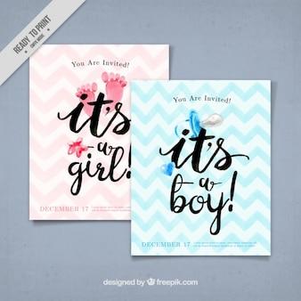 Aquarelle cartes de vœux bébé