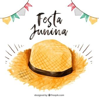 Aquarelle chapeau de paille festa fond junina