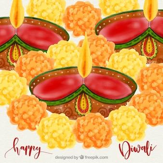 Aquarelle design de diwali