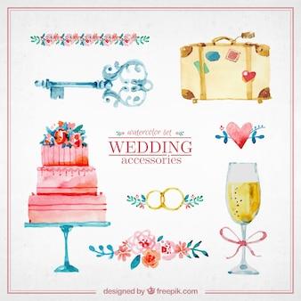 Aquarelle éléments mignons de mariage